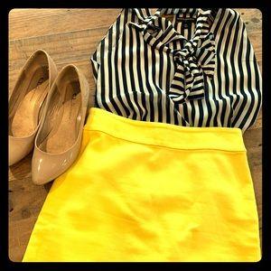 LOFT Petites Woven Pencil Mini Skirt in 00P Yellow